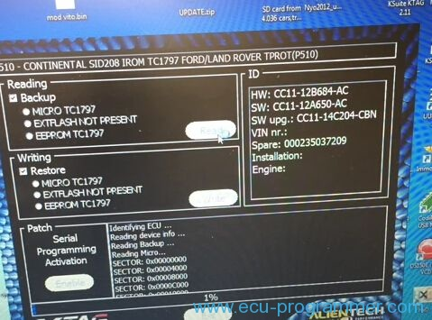 How to read Ford Transit SID208 ECU by KTAG clone? (Steps)
