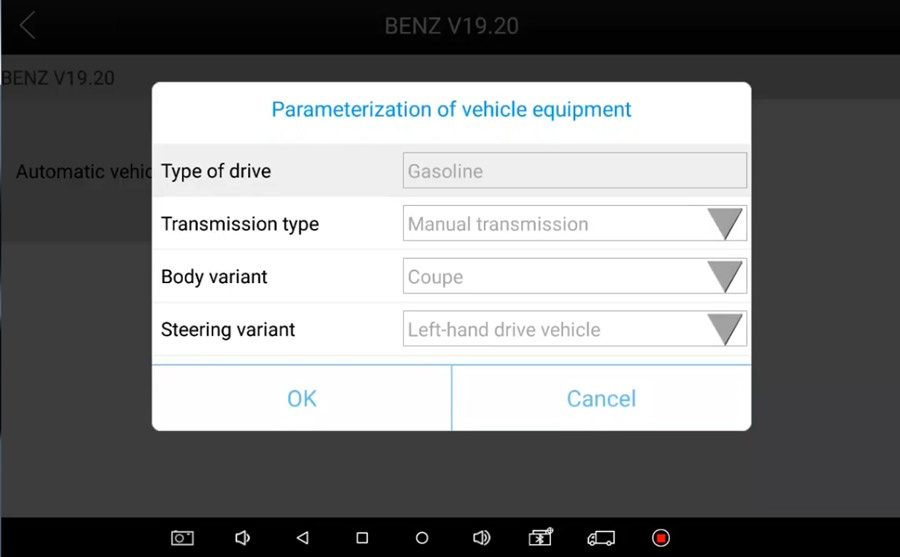 Parameterization of vehicle equipment